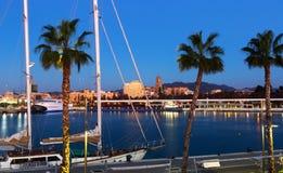 Malaga od portu w mrocznym czasie Obraz Royalty Free