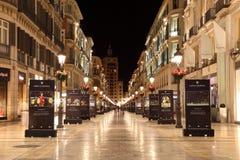 Malaga på natten, Spanien Royaltyfri Fotografi