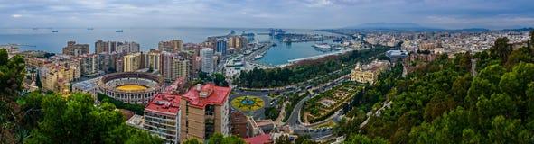 Malaga panoramiczny widok Fotografia Stock