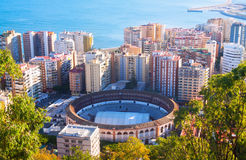 Malaga with Placa de Torros from castle Stock Image