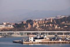 Malaga Port and Alcazaba Stock Images