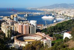 Malaga port and bullring. Stock Image