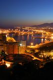 Malaga Port and bullring at night. Royalty Free Stock Photography