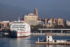 Malaga Port and Cathedral Royalty Free Stock Photography