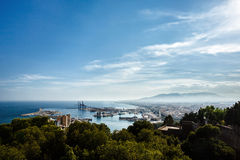 Malaga port and cityscape. From height of  Castillo de Gibralfaro, Costa del Sol, Andalusia, Spain Royalty Free Stock Image