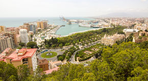 Malaga port. Culture and architecture are parts of the city at Malaga in Andalusia, south of Spain. and more, it is an important port for maritime trade Royalty Free Stock Images