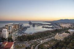 Malaga port från Gibralfaro Royaltyfri Fotografi