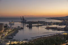 Malaga Port From Gibralfaro Stock Images