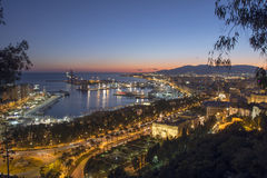 Malaga Port From Gibralfaro at Dusk Royalty Free Stock Photos