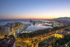 Malaga Port From Gibralfaro at Dusk Royalty Free Stock Photo