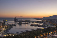 Malaga Port From Gibralfaro at Dusk Royalty Free Stock Image