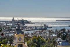 Malaga Port From Gibralfaro Stock Photography