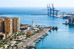 Malaga port. From height of Castillo de Gibralfaro, Costa del Sol, Andalusia, Spain stock images