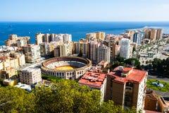 Malaga port i bullring fotografia stock