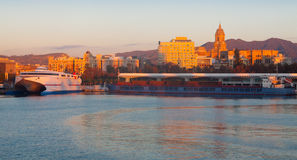 Malaga  from Port in  morning Royalty Free Stock Photography