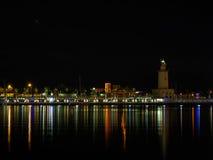 Malaga Port. Port of Malaga seen at night. Photo can be used as a travel photo to visit Malaga, Andalusia, Spain Stock Photos