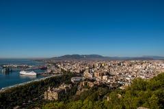 Malaga portu panoramiczny widok Obraz Stock