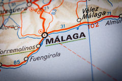 Malaga on a road map Royalty Free Stock Photo