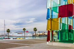 Malaga seafront glass cube modern building, Spain Royalty Free Stock Photos