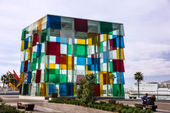 Malaga seafront glass cube modern building, Spain Stock Photo