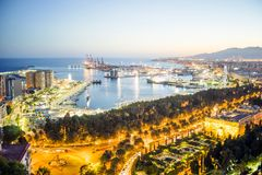 Malaga skyline with port at the evening, Andalusia, Spain. Malaga skyline with port on Mediterranean Sea at the evening, Andalusia, Spain royalty free stock photos