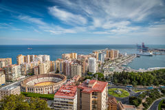 Malaga skyline. View on Malaga's arena and the sea Stock Images