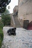 Malaga, Spagna, febbraio 2019 La vecchia scala, il cortile interno con il vecchio cannone e le pareti di pietra antiche dell'arab immagine stock