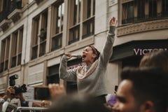 MALAGA, SPAGNA - 8 MARZO 2018: Migliaia di donne partecipano al colpo femminista il giorno delle donne nel centro urbano di Malag Fotografie Stock Libere da Diritti