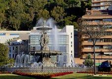 Malaga (Spagna) tolleranze di una fontana tre Immagini Stock Libere da Diritti