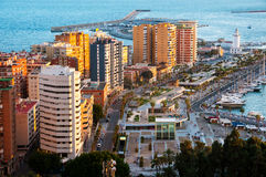 Malaga, Spain. Aerial view of apartment buildings and hotels Stock Photography