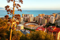 Malaga, Spain. Aerial view of Bullring arena Stock Photo