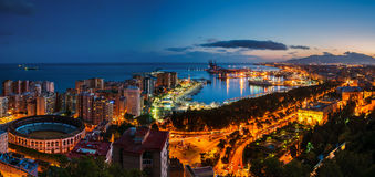 Malaga, Spain. Aerial view of City Hall and gardens Stock Photo