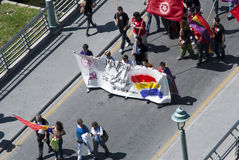 Malaga (Spain), 14 April 2013: Demonstrations against Monarchy in the II Republic Anniversary Stock Photography