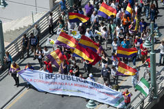 Malaga (Spain), 14 April 2013: Demonstrations against Monarchy in the II Republic Anniversary. Several people participates in the demonstration in Malaga against Stock Image