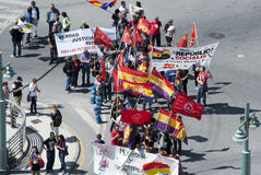Malaga (Spain), 14 April 2013: Demonstrations against Monarchy in the II Republic Anniversary. Several people participates in the demonstration in Malaga against Stock Photo