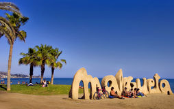 MALAGA, SPAIN - APRIL 20: Malagueta Beach entrance sign welcomes Royalty Free Stock Images