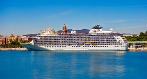 The largest privately owned residential yacht. Malaga, Spain - April 17, 2018. The World, the largest privately owned residential yacht, in Malaga port, Spain stock photo