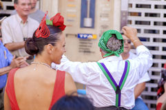 MALAGA, SPAIN - AUGUST, 14: Dancers in flamenco style dress at t Stock Image