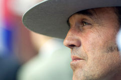 MALAGA, SPAIN - AUGUST, 14: A man with typical hat from Andalusia watching people dancing flamenco at the Malaga August Fair on A royalty free stock photography