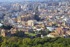 Malaga (Spain). Cathedral. Malaga Cathedral is an impressive structure that towers above the streets of the ancient city. Like many other Christian churches Stock Photo