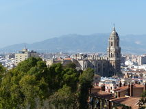 Malaga Spain city skyline view. With trees an a tall tower Royalty Free Stock Images