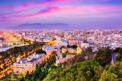 Malaga, Spain Cityscape. At the Cathedral, City Hall and Alcazaba citadel of Malaga Royalty Free Stock Image