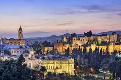 Malaga, Spain Cityscape on the Sea Royalty Free Stock Photography