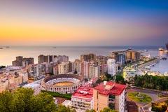 Malaga, Spain Cityscape on the Sea Royalty Free Stock Photography