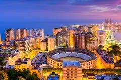 Malaga Spain Coast. Malaga, Spain skyline towards the Mediterranean Sea stock photos