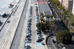 Top view of the parking lot, cars, roads. Parking spaces for the disabled royalty free stock photo