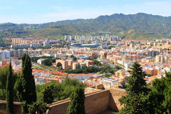Malaga, Spain. Fort walls with a city view of  Malaga, Spain Royalty Free Stock Photography