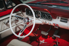 Free MALAGA, SPAIN - JULY 30, 2016: 1966 Ford Mustang Interior View In Red Color, Parked In Malaga Aerodrome, Spain. Royalty Free Stock Photography - 95466727