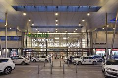 Cabs outside railway station in Malaga Spain stock photos