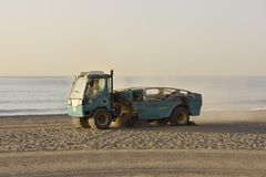 Beach maintenance vehicle Malaga Spain royalty free stock photography